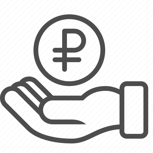 bribe, donation, hand, loan, payment, rouble, ruble icon