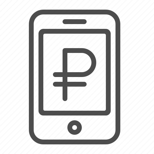 mobile banking, mobile phone, online banking, rouble, ruble, smartphone icon