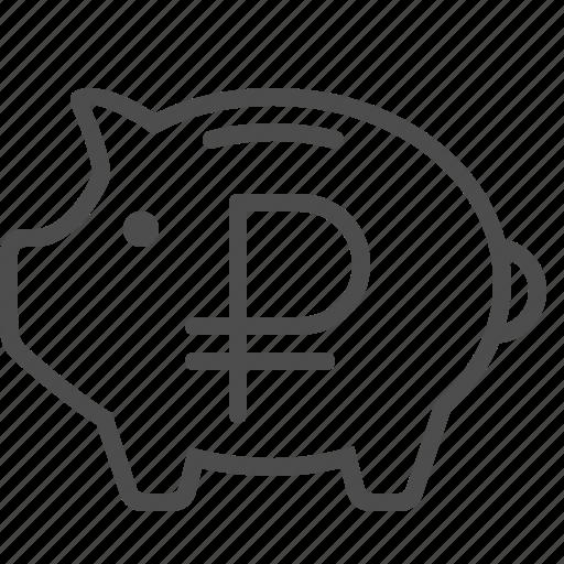 economy, piggy bank, rouble, ruble, savings icon