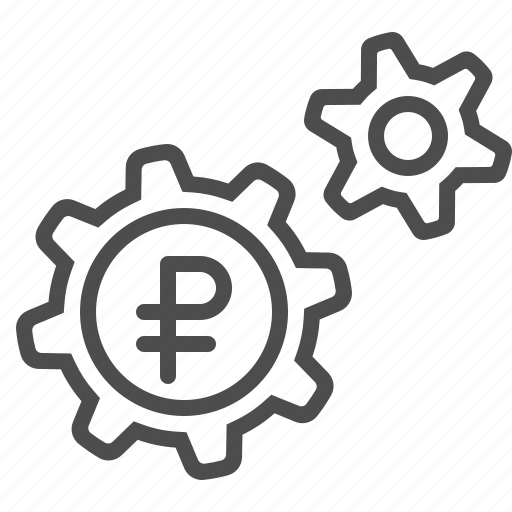 business, cogs, economy, gears, rouble, ruble, sprockets icon