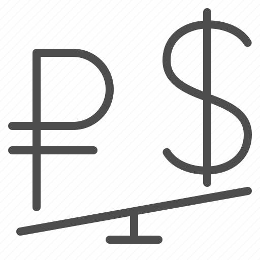 conversion, currency, dollar, exchange rate, rouble, ruble, seesaw icon