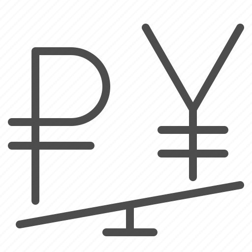 currency, exchange rate, rouble, ruble, seesaw, yen, yuan icon
