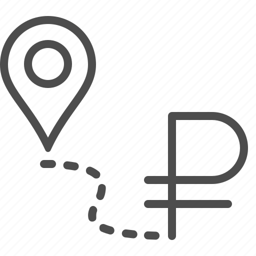 destination, financial, location marker, road to success, rouble, ruble icon