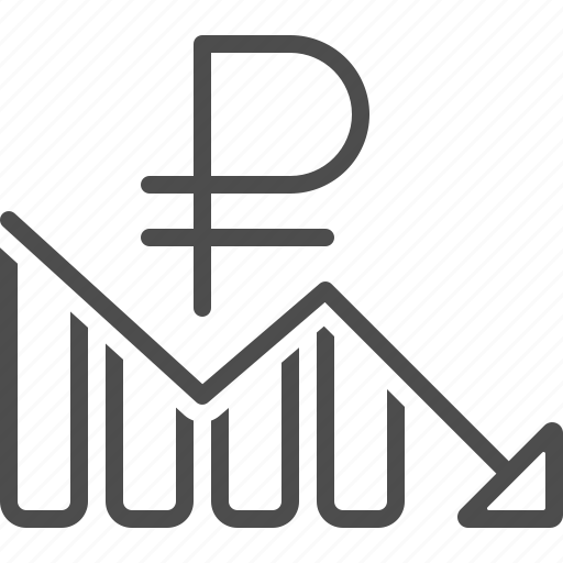 arrow, chart, graph, loss, rouble, ruble icon