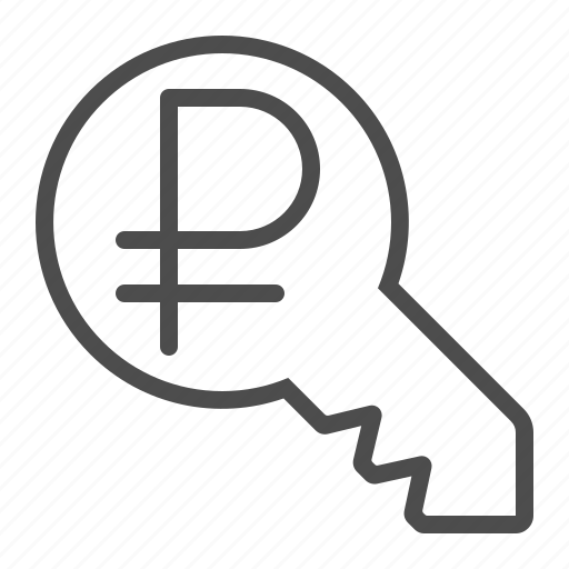 financial, key, key to success, rouble, ruble icon
