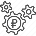 cogs, economy, gears, rouble, ruble icon