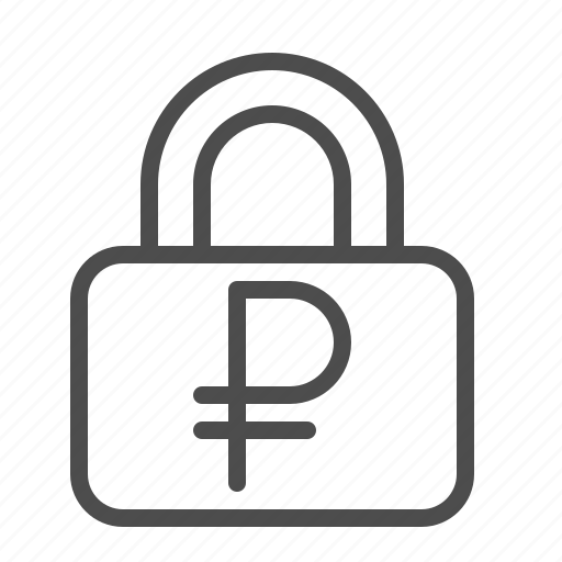 insurance, lock, rouble, ruble, security icon