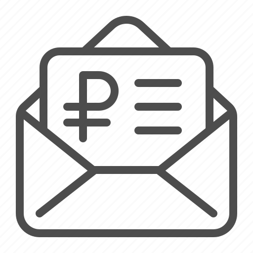 envelope, invoice, letter, rouble, ruble, tax form icon