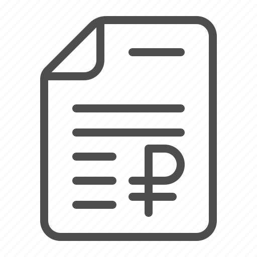 contract, document, invoice, rouble, ruble, tax form icon