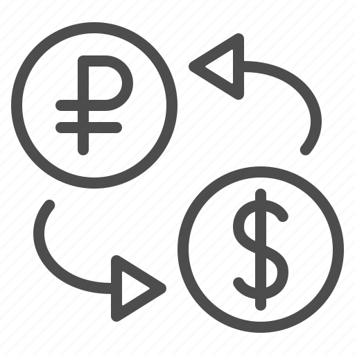 arrows, conversion, currency, dollar, exchange rate, rouble, ruble icon