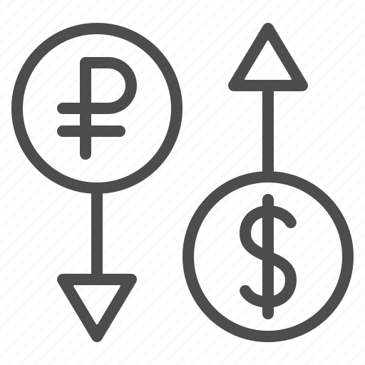 arrow, conversion, currency, dollar, exchange rate, rouble, ruble icon
