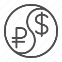 conversion, currency, dollar, exchange rate, rouble, ruble, yin yang icon