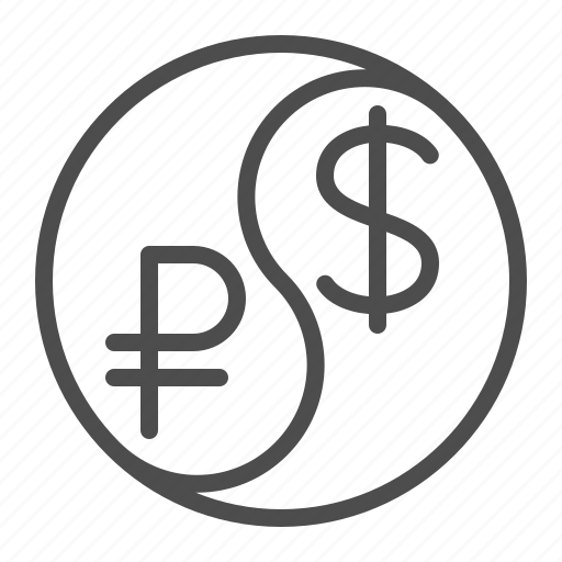 Conversion Currency Dollar Exchange Rate Rouble Ruble Yin Yang Icon