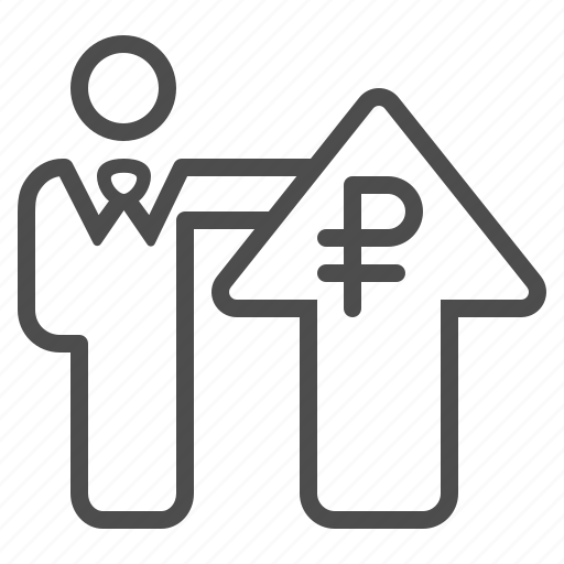 arrow, banker, broker, businessman, investment, rouble, ruble icon