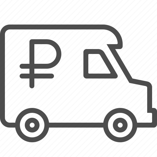 armored truck, banking, rouble, ruble, van icon