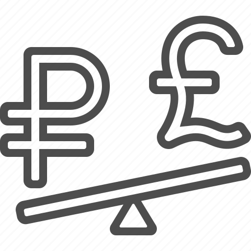 conversion, currency, exchange rate, pound, rouble, ruble, seesaw icon