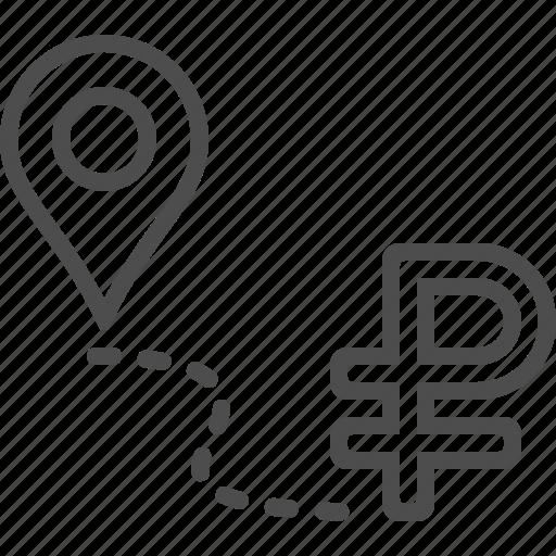 destination, location marker, road to success, rouble, ruble icon