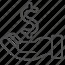 begging, bribe, dollar, finance, hand, loan, money icon