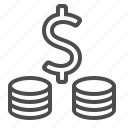coin stack, coins, currency, dollar, finance, money icon