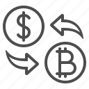 arrows, bitcoin, coins, currency, dollar, exchange rate, money icon