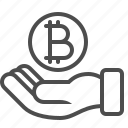 bitcoin, bribe, currency, hand, loan, money icon