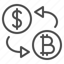 bitcoin, currency, dollar, exchange rate, money, transaction icon