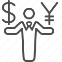 businessman, currency, dollar, exchange rate, money, yen, yuan icon