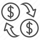 arrows, coins, currency, dollar, exchange rate, finance, money icon