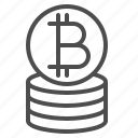 bitcoin, coin, currency, money, stack icon