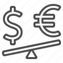 currency, dollar, euro, exchange rate, finance, money, seesaw icon
