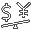 currency, dollar, exchange rate, finance, seesaw, yen, yuan icon