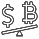 bitcoin, currency, dollar, exchange rate, money, seesaw icon