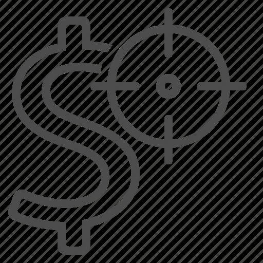 aim, business, dollar, finance, money, target icon