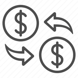 business, currency, dollar, exchange rate, money, transaction icon
