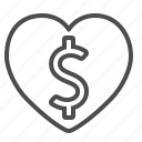 business, dollar, heart, love, money, passion icon