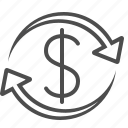 arrows, business, currency, dollar, exchange rate, money, transactions icon