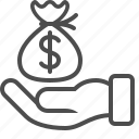 bribe, business, donation, finance, hand, loan, money icon