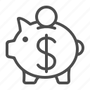 coin, dollar, finance, money, piggy bank, savings icon