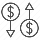 business, currency, exchange rate, finance, money, transaction icon