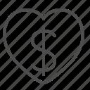 dollar, finance, heart, love, money, passion, wealth icon