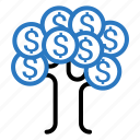currency, dollar, finance, money, tree icon