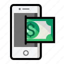 currency, dollar, finance, mobile, money, sign icon