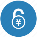 currency, lock, safe, yen icon