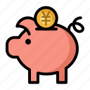 bank, coin, currency, finance, piggy, savings, yen icon