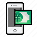 currency, finance, mobile, money, sign, yen icon
