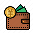 currency, finance, money, pocket, yen icon