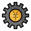 currency, finance, money, setting, sign, yen icon