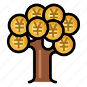 currency, finance, money, tree, yen icon