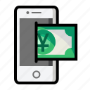 currency, finance, mobile, money, sign, yuan icon