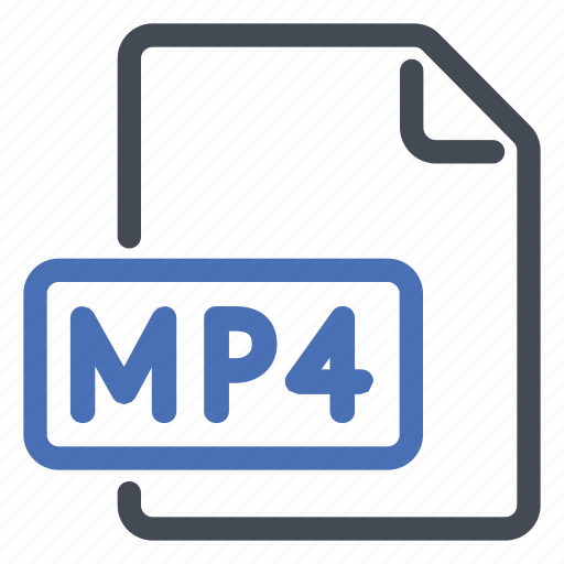 document, extension, file, format, movie, mp4 icon